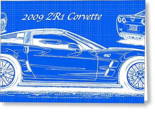 2009 C6 Zr1 Corvette Blueprint Greeting Card