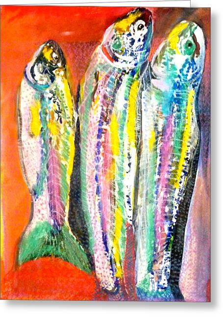3 Little Fishies Greeting Card by Anthony George