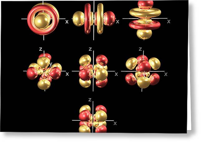 5f Electron Orbitals, Cubic Set Greeting Card by Dr Mark J. Winter
