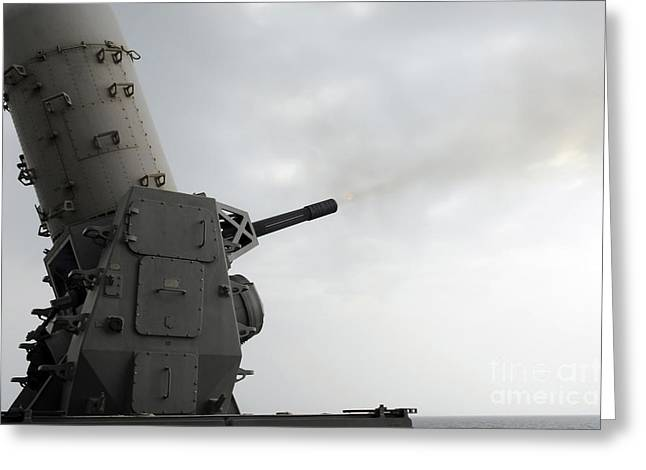 A Close-in Weapons System Is Fired Greeting Card by Stocktrek Images