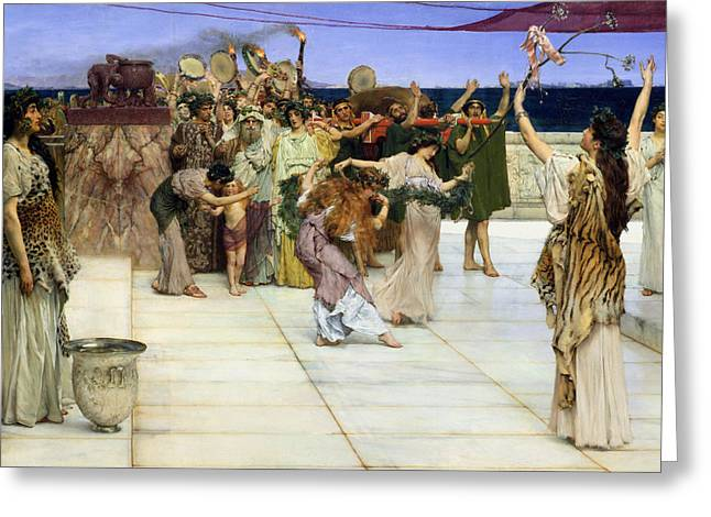 A Dedication To Bacchus Greeting Card by Sir Lawrence Alma-Tadema