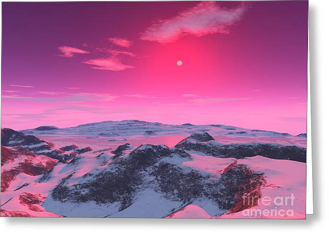 A Hypothetical Planet Orbiting A Red Greeting Card by Ron Miller