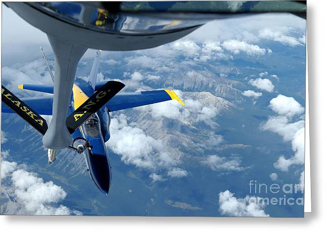 A Kc-135 Stratotanker Refuels An Fa-18 Greeting Card by Stocktrek Images