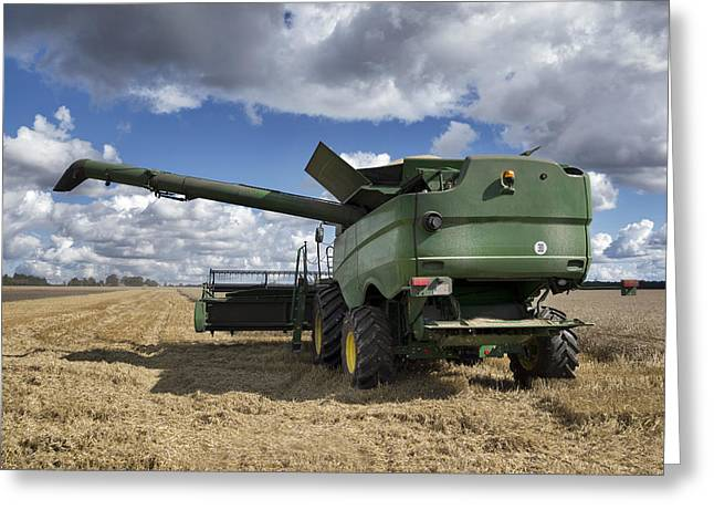 A Large Combine Harvester Machinery Greeting Card by Jaak Nilson