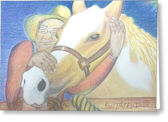 A Man And His Horse Greeting Card by Terri Walker Pullen