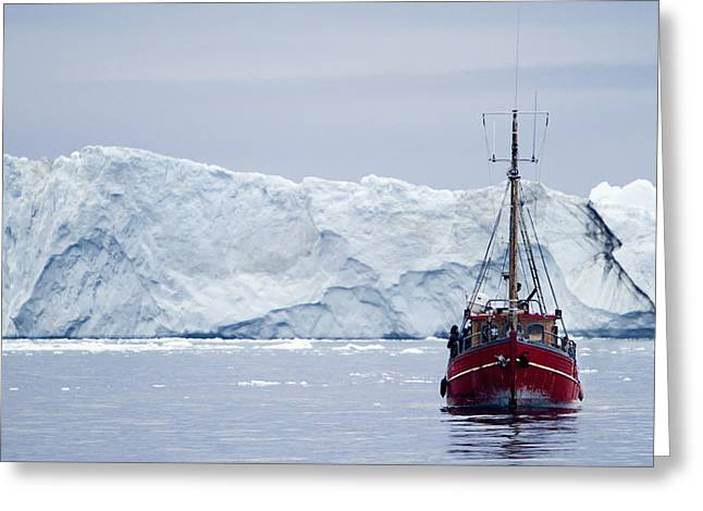 A Midnight Cruise Around The Ilulissat Greeting Card by Axiom Photographic