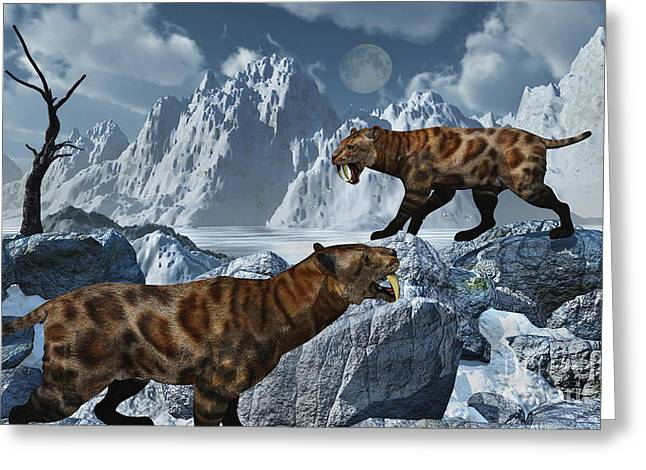 A Pair Of Sabre-toothed Tigers Greeting Card by Mark Stevenson