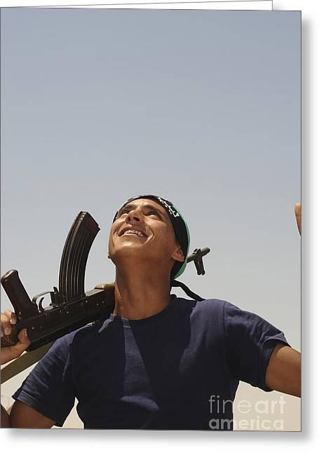 A Rebel Fighter With An Ak-47 Assault Greeting Card