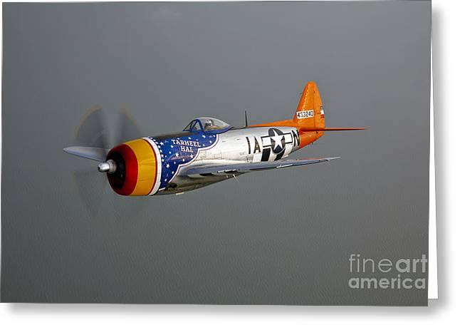 A Republic P-47d Thunderbolt In Flight Greeting Card