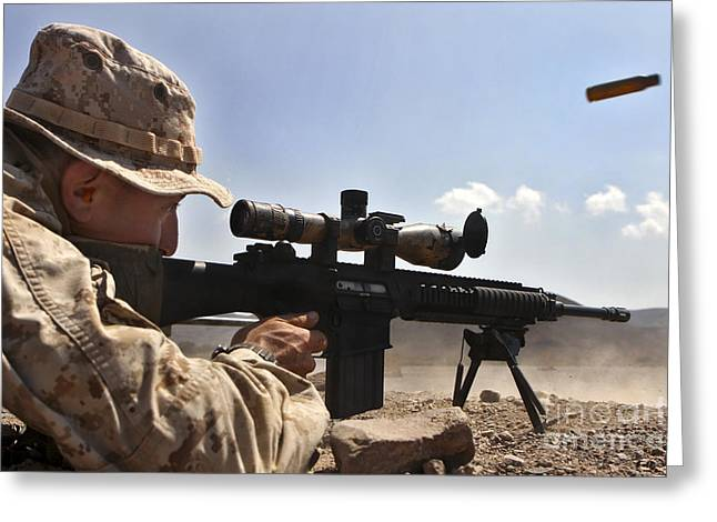 A Scout Sniper Fires His Mk-11 Sniper Greeting Card by Stocktrek Images