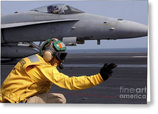 A Shooter Launches An Fa-18e Super Greeting Card