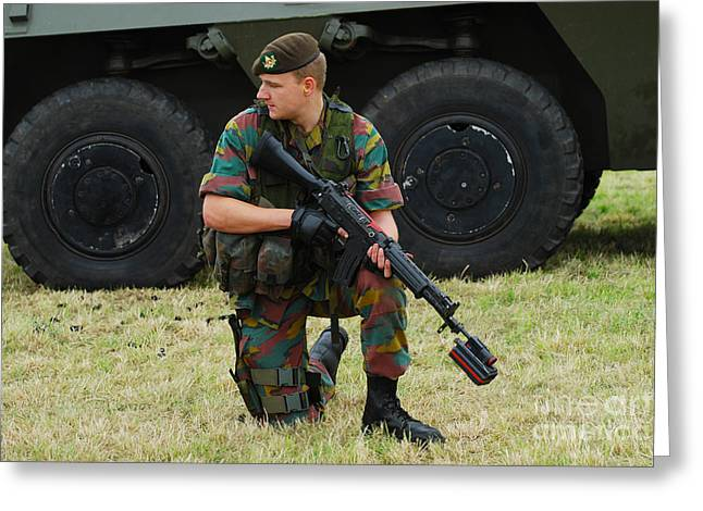 A Soldier Of An Infantry Unit Greeting Card by Luc De Jaeger