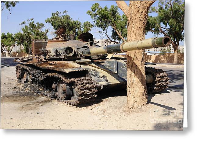 A T-72 Tank Destroyed By Nato Forces Greeting Card by Andrew Chittock
