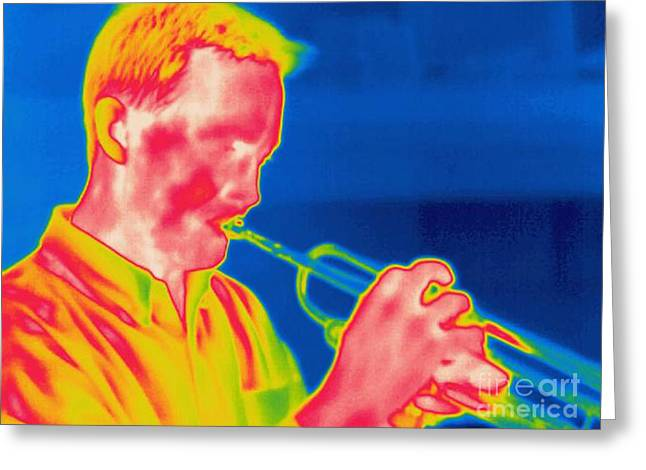 A Thermogram Of A Musician Playing Greeting Card by Ted Kinsman