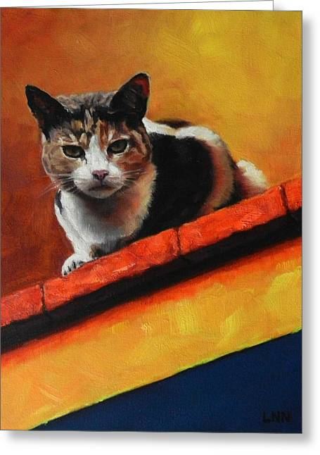 A Top Cat In The Shadow, Peru Impression Greeting Card