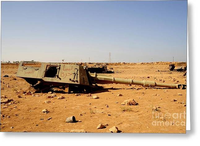A Tracked Artillery Vehicle Destroyed Greeting Card