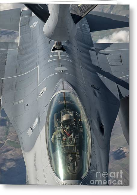A U.s. Air Force F-16c Fighting Falcon Greeting Card by Giovanni Colla