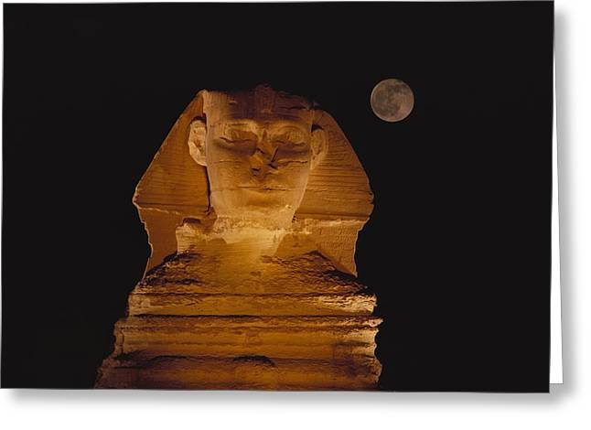 A View Of The Great Sphinx At Night Greeting Card by Bill Ellzey