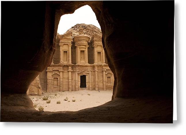 A View Of The Monastary In Petra Greeting Card