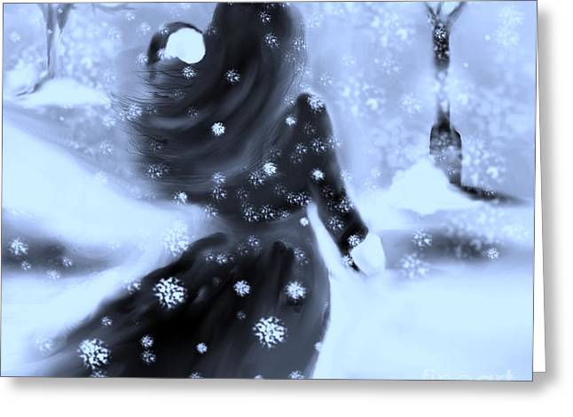 Greeting Card featuring the drawing A Winters Walk by Lori  Lovetere
