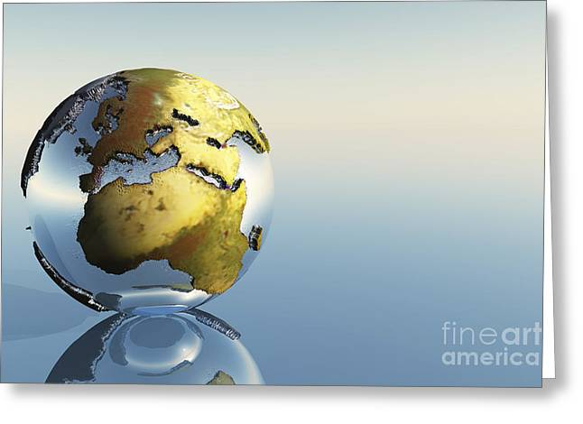 A World Globe Showing The Continents Greeting Card by Corey Ford