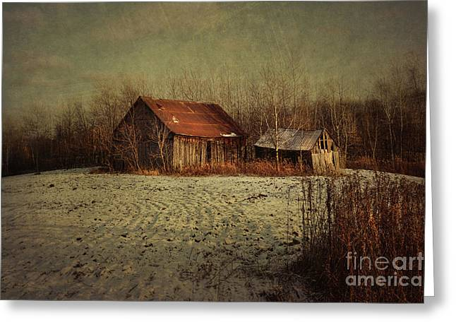 Abandoned Barn After The First Snow Greeting Card by Sandra Cunningham