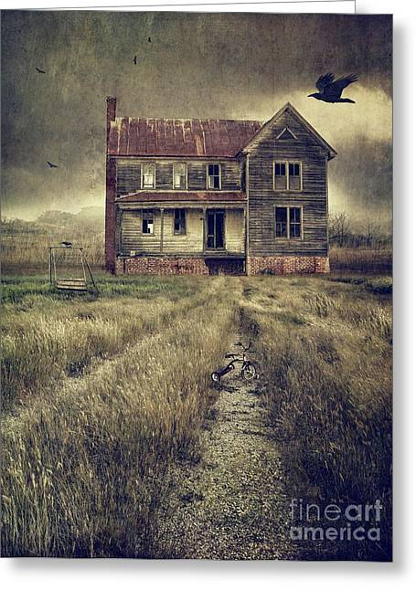 Abandoned Eerie Farmhouse With Dark Clouds Greeting Card by Sandra Cunningham