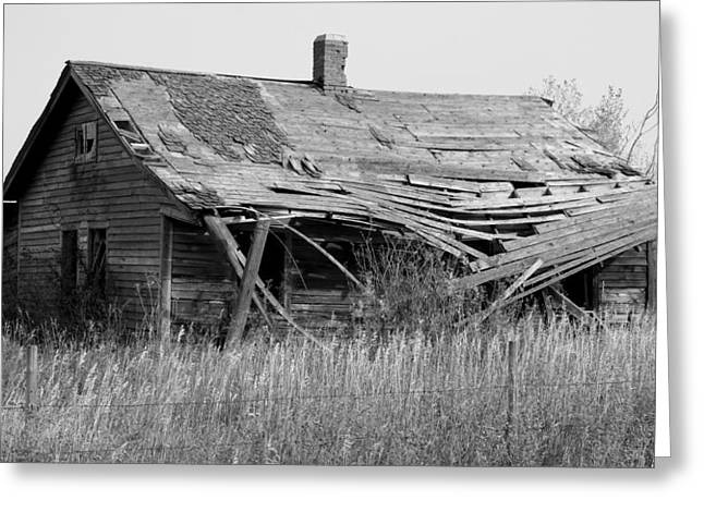 Abandoned House In Monochrome Greeting Card by Jim Sauchyn