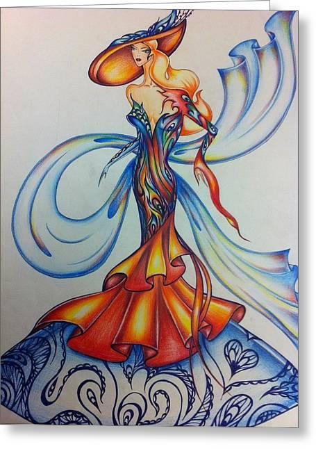Abstract Art Fashion Greeting Card by Natasha Russu