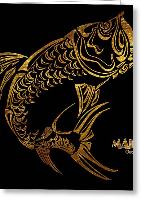 Abstract Tarpon Fishing Mad Outfitters Fish Design Greeting Card by MAD Outfitters