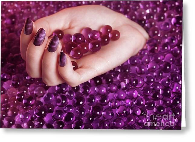 Abstract Woman Hand With Purple Nail Polish Greeting Card