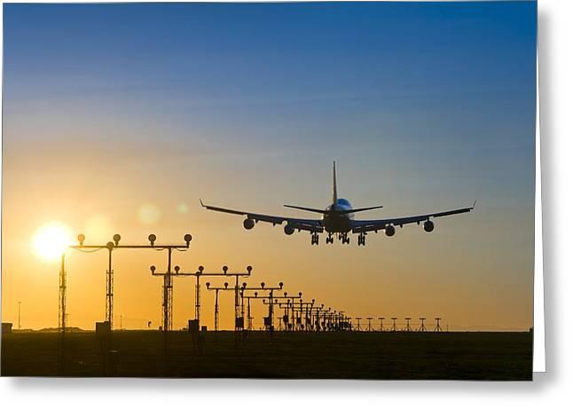 Aeroplane Landing At Sunset, Canada Greeting Card by David Nunuk