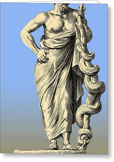 Aesculapius, Greek God Of Medicine Greeting Card by Science Source
