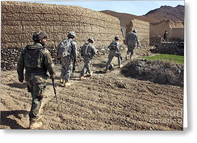 Afghan National Army And U.s. Soldiers Greeting Card by Stocktrek Images