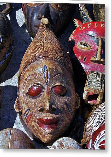 Greeting Card featuring the photograph African Mask by Werner Lehmann