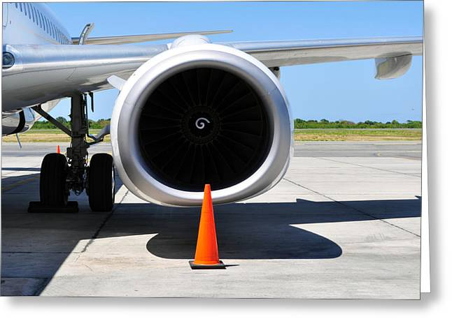 Air Transportation. Jet Engine Detail. Greeting Card by Fernando Barozza