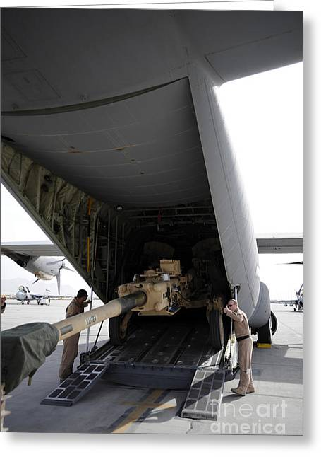 Aircrew Load An M777 A2 Howitzer Onto Greeting Card