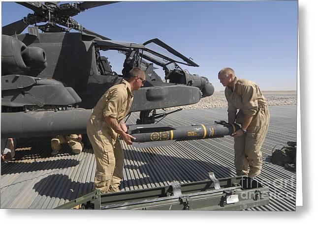 Aircrew Loading An Agm-114 Hellfire Greeting Card