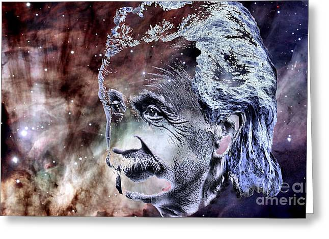 Greeting Card featuring the painting Albert Einstein by Elinor Mavor