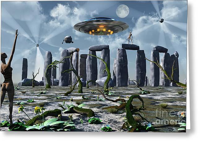 Alien Interdimensional Beings Recharge Greeting Card