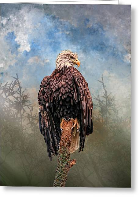 Greeting Card featuring the digital art American Bald Eagle by Mary Almond