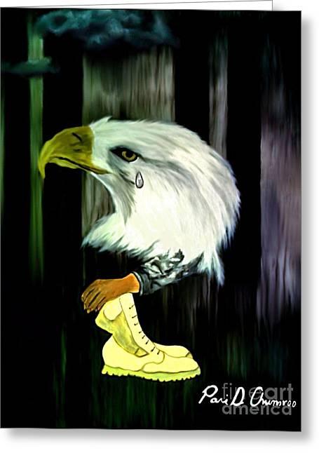 American Eagle Cries Greeting Card by Ayasha Loya