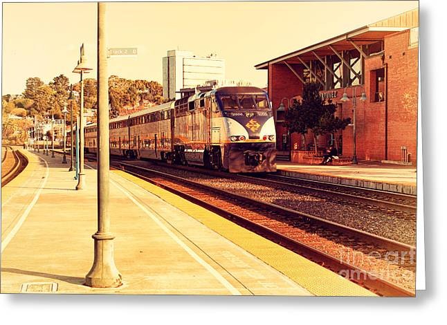 Amtrak Train At The Martinez California Train Station . 7d10495 Greeting Card by Wingsdomain Art and Photography