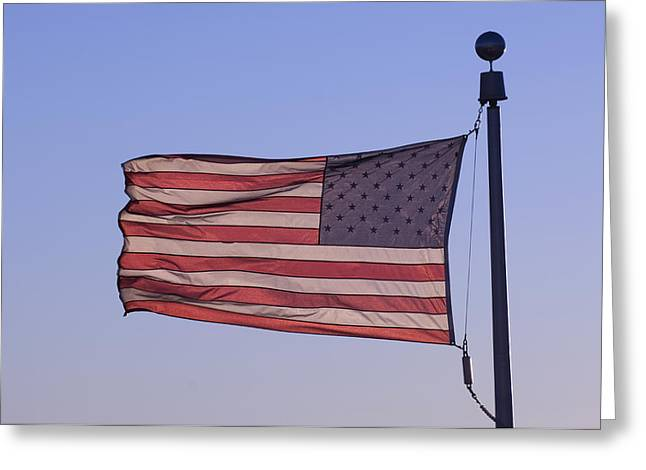 An American Flag At Sunrise Greeting Card by Joel Sartore