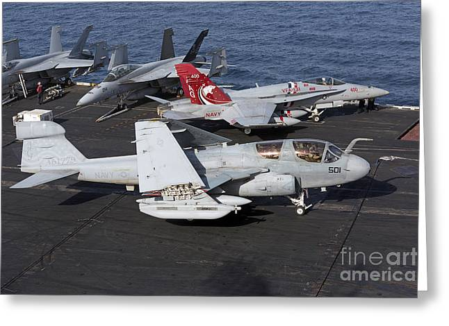An Ea-6b Prowler During Flight Greeting Card by Gert Kromhout