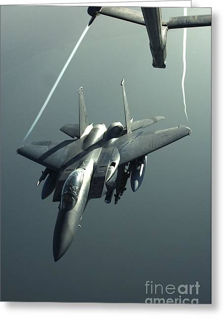 An F-15e Strike Eagle Flies Over Iraq Greeting Card by Stocktrek Images