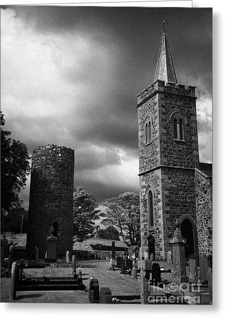 Ancient Glenshesk Armoy Round Tower In The Grounds Of St Patricks Parish Church Armoy County Antrim Greeting Card by Joe Fox