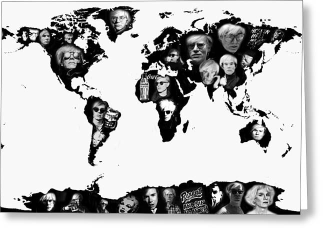 Andy Warhol World Map Greeting Card by Stephen Walker