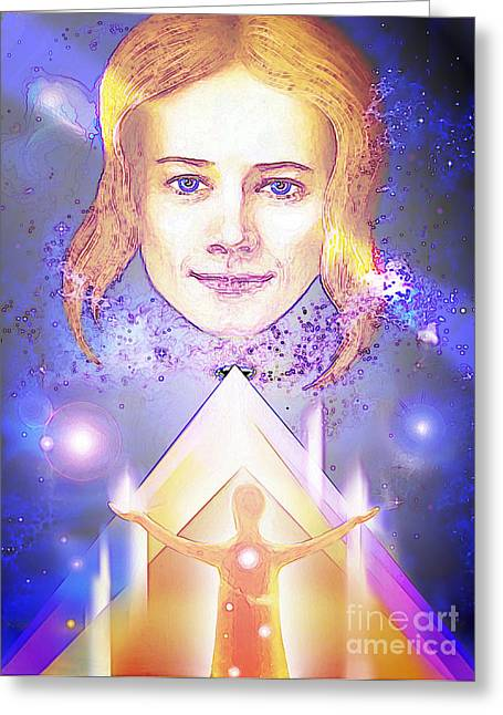 Greeting Card featuring the mixed media Angel by Hartmut Jager