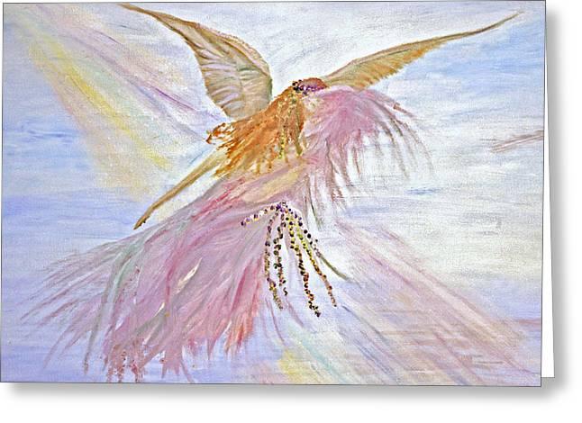 Angel-keeper Of The Rainbow Greeting Card by Joy Braverman